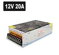 SPD-240W 12V20A CCTV Accessories Camera system Power Supply Transformer Metal - Silver (AC 110-220V)