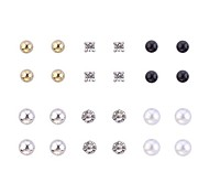 Lureme®Alloy Zircon Pearl Earrings Set(12 Pairs)