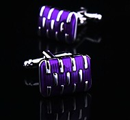 Toonykelly Fashion Men's Silver Purple Enamel Copper Cufflink(Silver)(1 Pair)