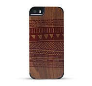 GMZS Wooden Case Blanket-printed Black Walnut Wooden Back Cover for iPhone 5