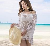Women's Fashion Sexy white Stylish Round Collar Nets Embroidered Long Sleeve Bikini Beach Cover Up