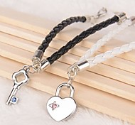 Z&X® Key Lock Rhinestone Black And White PU Leather Couple Bracelets  (1 pair)