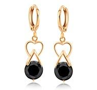 Woman's  Fashion Heart-Shaped Gold Plated Drop Zircon Ear Clip