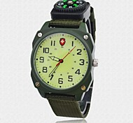 Men's Canvas Watch Infantry Quartz Fabric Nylon Strap Military Watch Luminous Dial & Pointer Compass Watch