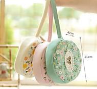 bolso del arte del paño estampado de flores de teléfono monedero del cambio redonda (color al azar)