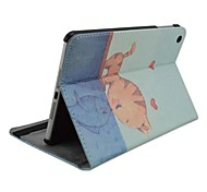 Fashion Painted Kiss Cat PU Full Body Case with Stand for iPad 2/3/4