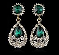 Fashion Elegant Water Droplet Full of Crystal Big Gem Earrings(Green Blue White&Red)(1 pair)