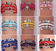 leather Charm Bracelets Eruner®Leather Bracelets Zircon Multilayer Alloy Charms Handmade Bracelets