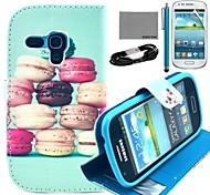 Coco Fun® patrón macarons colorido caja de cuero de la PU con el cine y cable usb y el lápiz para mini i8190 samsung galaxy s3