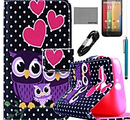 COCO FUN® Dots Owl Family Pattern PU Leather Full Body Case with Film and USB Cable and Stylus for Motorala Moto G