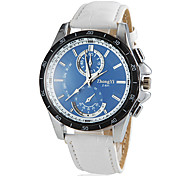 Men's Round Blue Dial PU Leather Band Quartz Wrist Watch