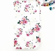 Flower Pattern PU Leather Full Body Case with Card Slot And Stand  And Stand And Dustproof Plug for Motorola G2