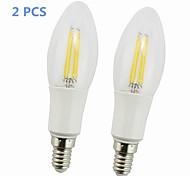 Lâmpada de Filamento LED E14 4 W 380-400 LM 2700-2800K K Branco Quente 4 COB AC 85-265 V