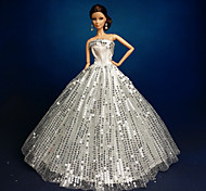 barbie doll brillante paillettes argento abito da sposa