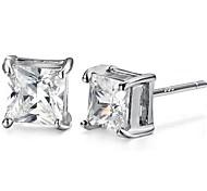 925 Sterling Silver Square Diamond Stud Earrings