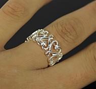 anillo de plata corazón hueco - plata