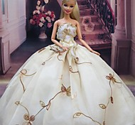 Party/Evening Dresses For Barbie Doll Ivory Dresses For Girl's Doll Toy