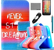 COCO FUN® Sea Sunrise Pattern PU Leather Full Body Case with Film and USB Cable and Stylus for Motorala Moto G