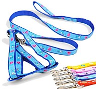 Adjustable Nylon Different Pattern Harness with Leash for Pet Dogs(Assorted Sizes,Random Colour)