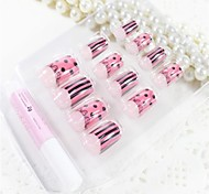 12 Pcs  Pink Black Bar  Design Nail Art Tips With Glue
