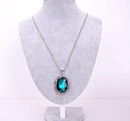 European Style Fashion Long Oval Gemstone Necklace