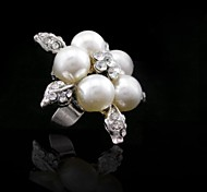 Silver Pearl Flower Ring