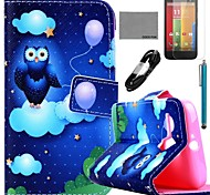 COCO FUN® Balloon Owl Pattern PU Leather Full Body Case with Film and USB Cable and Stylus for Motorala Moto G