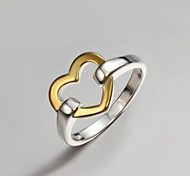Band Rings Sterling Silver Gold Plated Heart Fashion Statement Jewelry Gold/Silver Jewelry Party 1pc