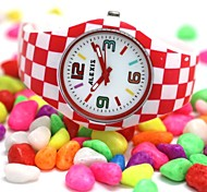 Women's Round Red And White Silicone Strap Japanese Quartz Movement Watch FW922K