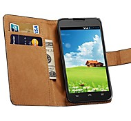 Genuine Leather Wallet Case with Card Holders for ZTE Grand X Quad V987 V967S