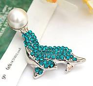 Fashion Rhinestone And Pearl Dolphin Brooches Random Color