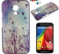 Bird Pattern PC Back Cover Case With Dustproof plug for Motorola G2