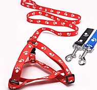 Nylon Footprint Pattern Harness with Leash for Pet Dogs(Assorted Colours,Sizes)
