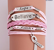 Eruner®Leather Bracelet Multilayer Alloy Believe and Hope Handmade Bracelet