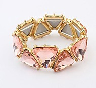 Luxurious Gem Stone Elastic Bracelets (1 pc, Pink / Black)