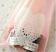 50pcs Pink Heart Lace Cookie Bakery Candy Biscuit Jewelry Gift Bag