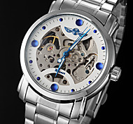 WINNER Men's Skeleton Watch Mechanical Watch Hollow Engraving Automatic self-winding Stainless Steel Band Silver