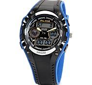 esporte ao ar livre unisex rodada plástico acrílico quartzo esportes impermeável relógio de pulso digital (preto)