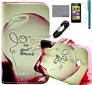 COCO FUN® Love Lamp Pattern PU Leather Case with Screen Protector and USB Cable and Stylus for Nokia Lumia N630