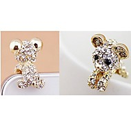 Rhinestone Teddy Bear Anti-dust Earphone Jack for iPhone/iPad and Others