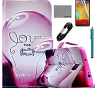 COCO FUN® Love Lamp Pattern PU Leather Case with Film and Stylus and USB Cable for Samsung Galaxy Note 3