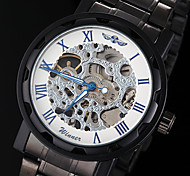 Men's Manual Mechanical Hollow Skeleton Blue Pointer Black Steel Band Wrist Watch (Assorted Colors)