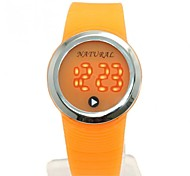 Men's Fashion Round LED Silicone Band Digital Watch (Assorted Colors)
