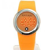 moda levou rodada relógio banda silicone digitais dos homens (cores sortidas)