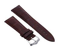 24mm Unisexechtleder-Bandbügel Armband dunkelbraun Mode