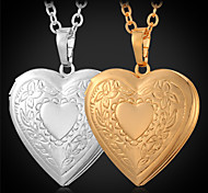 U7® Heart Photo Locket Necklace Pendant 18K Real Gold Plated Choker Necklace Charms Floating Lockets Fashion Jewelry