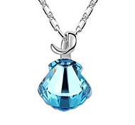 Waterlike Lady Short Necklace Plated With 18K True Platinum Aquamarine Crystallized Austrian Crystal Stones