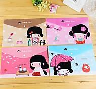 Japanese Girl Pattern Plastic A4 File Bag(1 PCS Random Color)