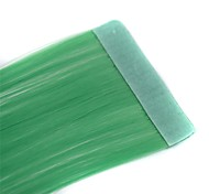 Long Straight Tapes Synthetic Extension 2 Pcs Light Green