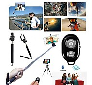 3-In-1 Extendable Handheld Selfie Stick Cable Monopod with Remote Control Shutter + Holder for iPhone(Assorted Color)